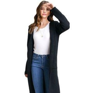 Long Black Cardigan Hooded Duster Full Length